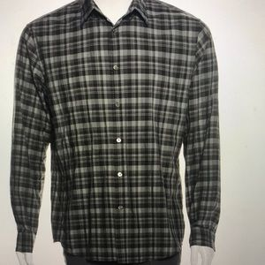 John Varvatos check printed button up shirt